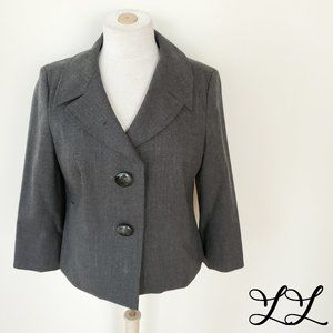 Talbots Blazer Gray Crop Wool 2 Button Italy Work